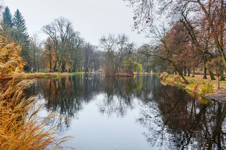 Lazienki Park or Royal Baths Park in autumn in Warsaw. Poland