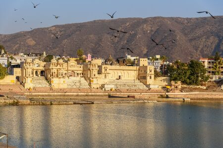 Chandra Ghat at Pushkar holy lake in Rajasthan. India