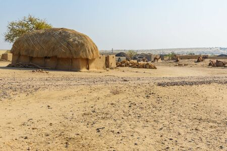 Traditional houses in village in Thar desert. Jaisalmer. Rajasthan. India