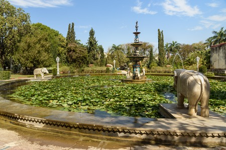 Lotus pool and marble elephants in Saheliyon ki Bari gardens or Courtyard of the Maidens in Udaipur. Rajasthan. India
