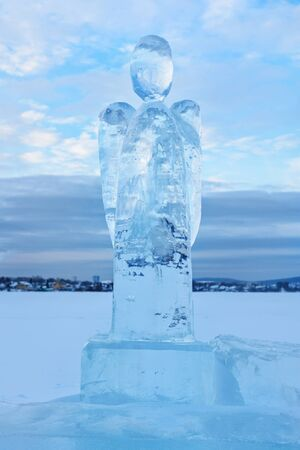 Ice angel in winter. Epiphany Orthodox holiday on a place of ice-hole swimming. Russia Stockfoto