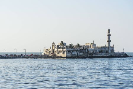 Haji Ali Dargah mosque and tomb on islet off the coast of Worli in Mumbai. India 写真素材
