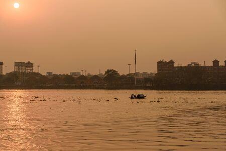 View of sunset on Hooghly or Ganga in Kolkata. India