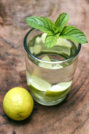 lemon drink with min leaf and lemon Stock Photo