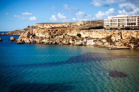 Famous beach Golden Bay in Malta Standard-Bild