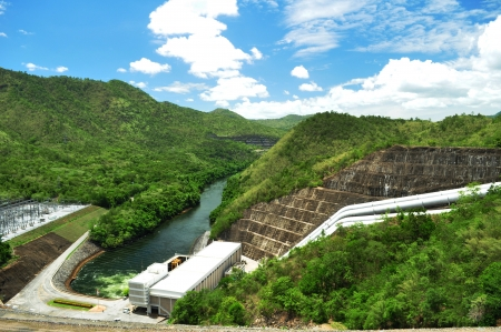 hydroelectricity: embankment dam generating power and electricity