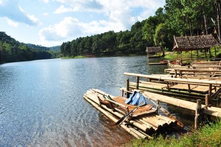 pang: group of bamboo rafts on Pang Oung, Thailand