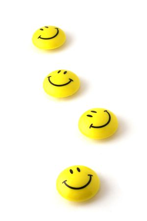 4 yellow happiness smiley abreast Stock Photo - 3216173