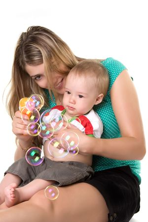 Mother with a child can be bubbles