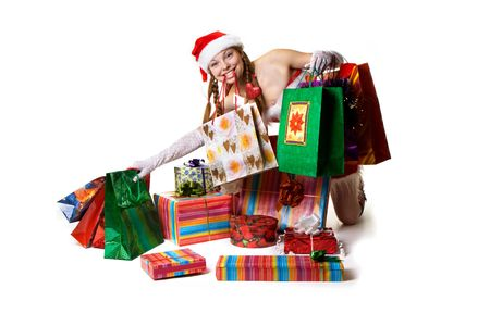 Sexy Santa with gifts and shopping Stock Photo - 3809977