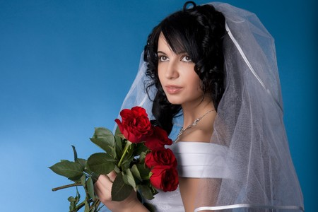 Image of the brunette bride with red roses on a blue background Stock Photo - 4204259