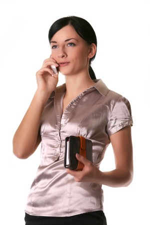 Image of a girl who is talking on a mobile Stock Photo - 4414302
