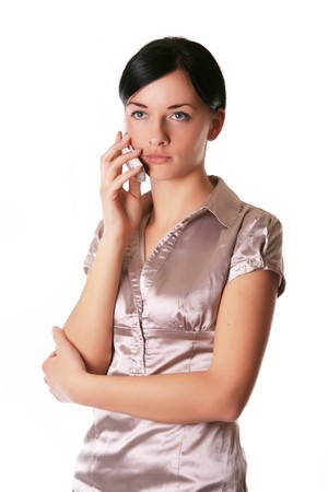 Image of a girl who is talking on a mobile photo