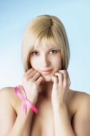 Image of a girl with a pink ribbon in her hand Stock Photo - 4468678