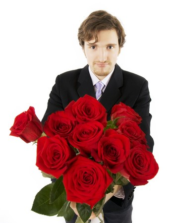 Picture of a beautiful man with a bouquet of roses photo