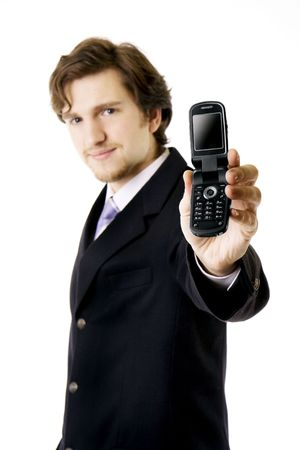 Image of man, businessman, which shows the phone photo