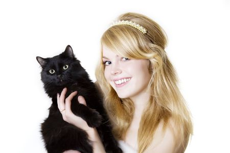 omens: Picture of a beautiful blonde girl with a black cat in the hands of