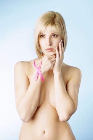 Image of a girl with a pink ribbon in her hand Stock Photo - 4547101