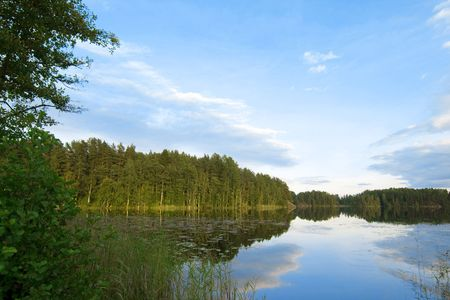 Images of a beautiful forest and lake scenery Stock Photo - 6011515