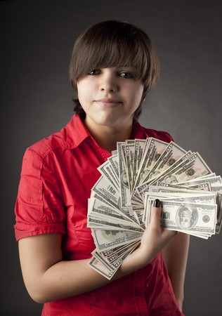 The image of a girl who has a lot of money Stock Photo - 7624231