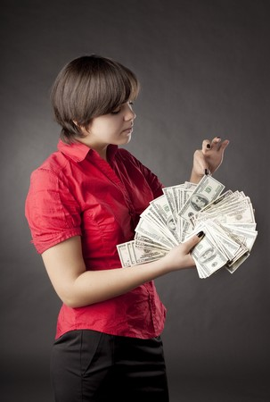 The image of a girl who has a lot of money Stock Photo - 7624136