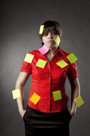 Image of business woman on that note pasted Stock Photo - 7624112