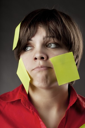 Image of business woman on that note pasted Stock Photo - 7624183