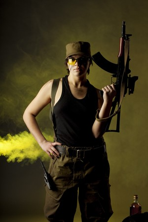 Image of girl soldiers in the smoke Stock Photo - 7624011