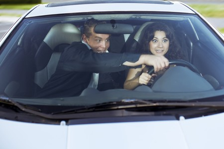 The image of a family quarrel driving photo