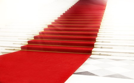 carpet design: Image on the staircase with red carpet, illuminated by light
