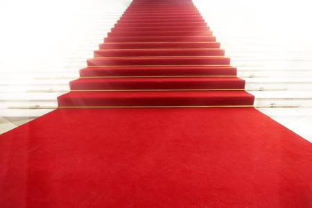 carpet: Image on the staircase with red carpet, illuminated by light