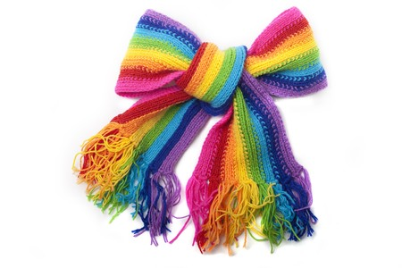 shawl: Heldere rainbow gebreide sjaal Stockfoto
