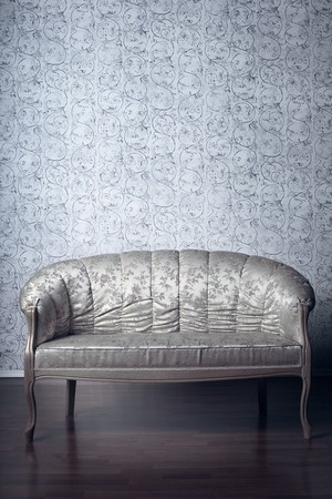Images of the glamorous sofa in the background of vintage wallpaper photo