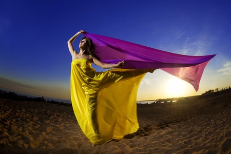 The image of a beautiful girl at the beach growing tissue on a background of the sun. Stock Photo - 7623789