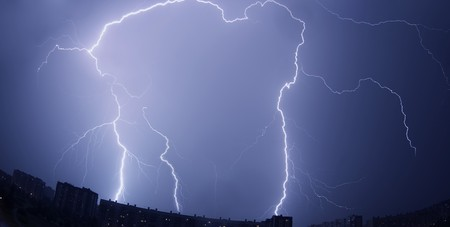 Images of lightning over the city photo