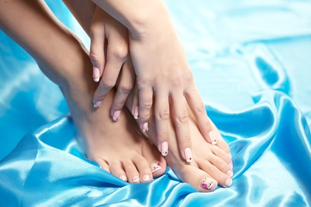 Image of beautiful manicured feet with a neat pedicure Stock Photo - 9039438