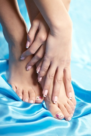 Image of beautiful manicured feet with a neat pedicure  photo