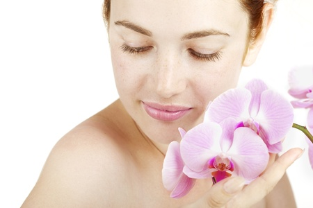 Image of beauty girl with orchid in her hands Stock Photo - 9037957