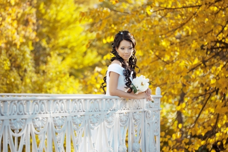 The image of a beautiful bride in the autumn park photo