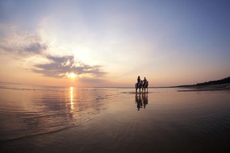 uomo a cavallo: L'immagine di una coppia in amore al tramonto nel mare