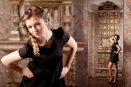 Image of luxury girl, amid the vintage interior photo