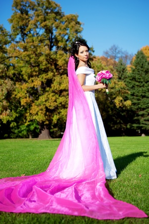 Image of the beautiful bride with a long purple veil Stock Photo - 10705339