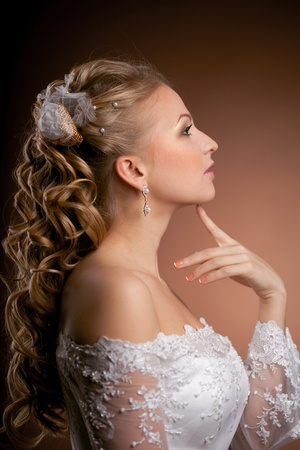 Image of luxury bride on a bright background photo