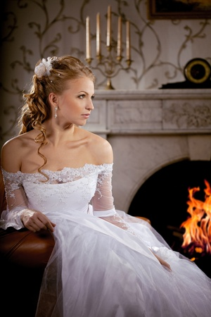 Image of luxury bride on a bright background Stock Photo