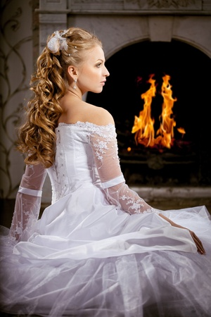Image of luxury bride with wedding hairstyle photo