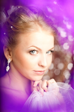 Luxury bride on a bright background photo
