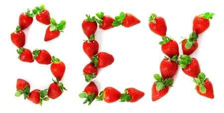 sexe: Image du mot �sexe� peint � partir d'une fraise