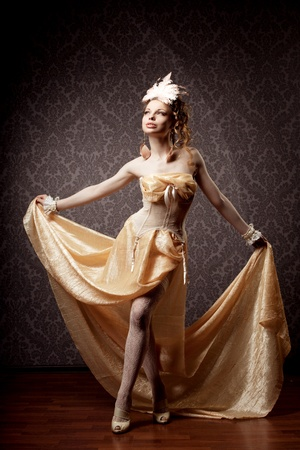 The image of a girl in a luxurious vintage-style photo