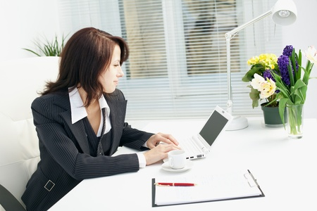 young executives: Image of business woman in the workplace
