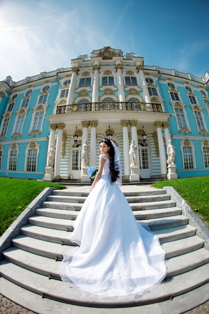 outdoor glamour: Image of luxury bride near palace